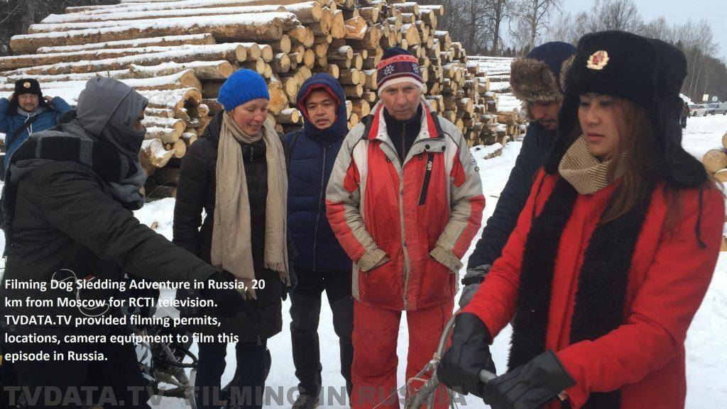 Filming Dog Sledding Adventure in Russia, 20 km from Moscow for RCTI television. TVDATA.TV provided filming permits, locations, camera equipment to film this episode in Russia.