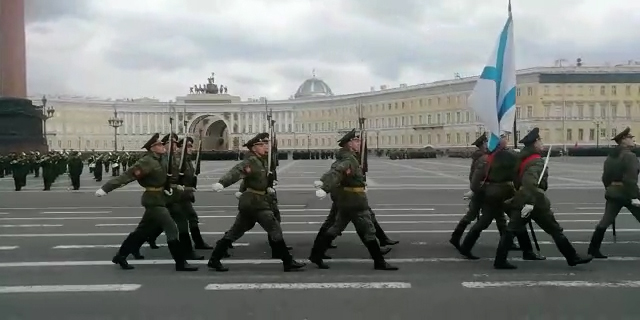Victory Day parade rehearsal in Petersburg Russia 2021